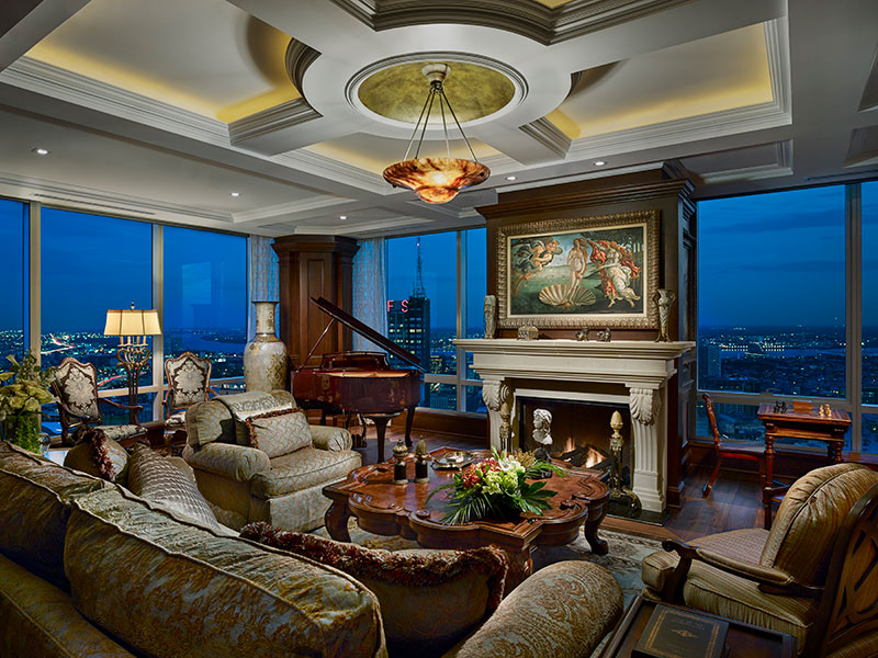 penthouse living area and fireplace by Shay Construction