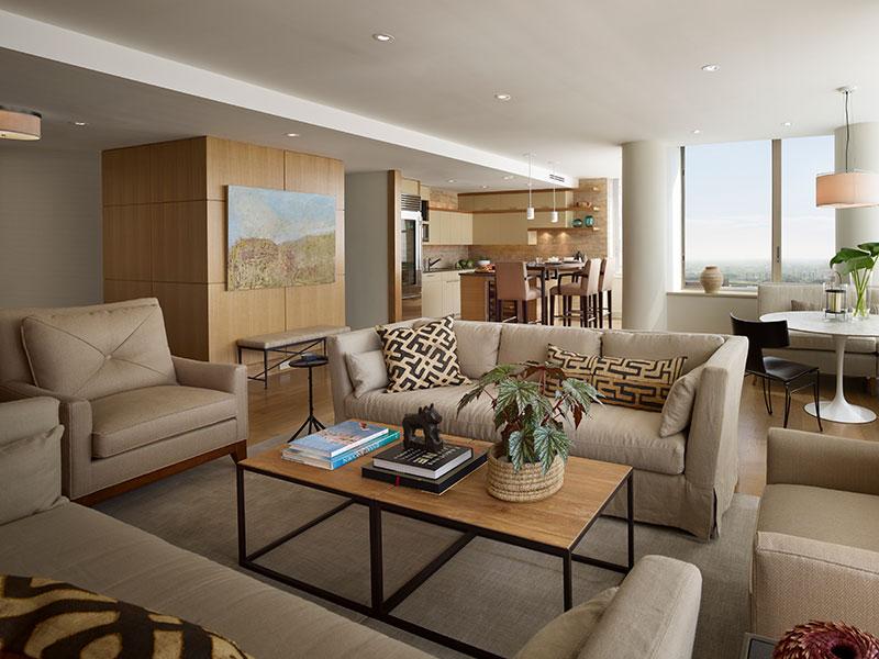 modern living area for Center City Philadelphia home by Shay Construction, Inc.