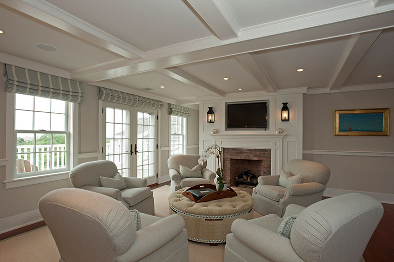 Nantucket family home living area by Shay Construction